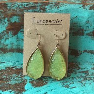 NWT. Francesca's teardrop earrings in mint green